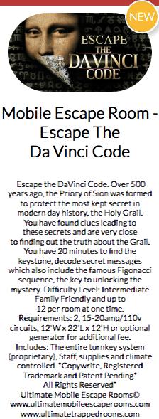 Teaser text for a Mobile Escape The Da Vinci Code game.