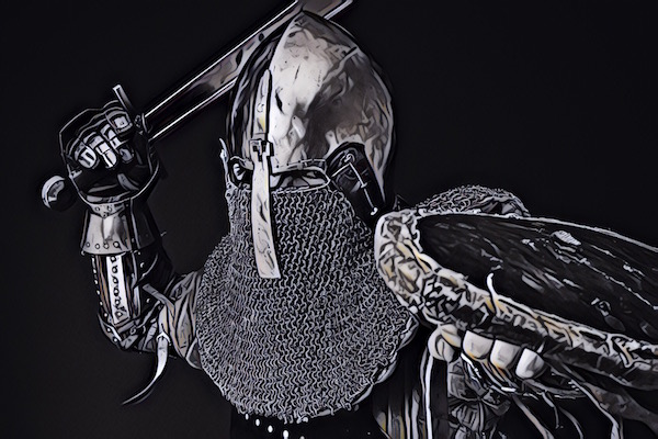 Intense black & white image of a armored knight ready to strike with a sword.
