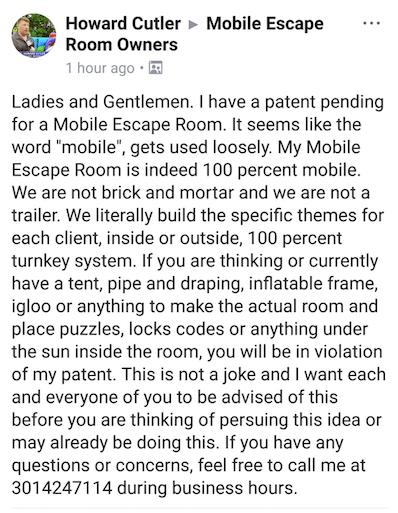 Screen shot of Howard Cutler's Facebook post: Full text printed below picture