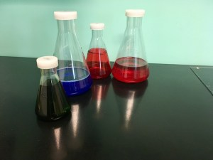 In-game: A collection of lab flasks filled with colored liquids.