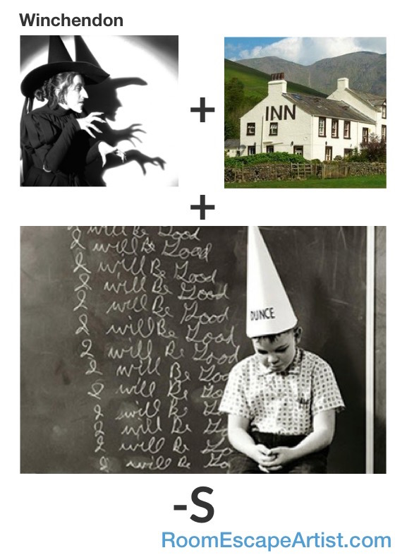 Winchendon Rebus: Witch + Inn + Dunce - S