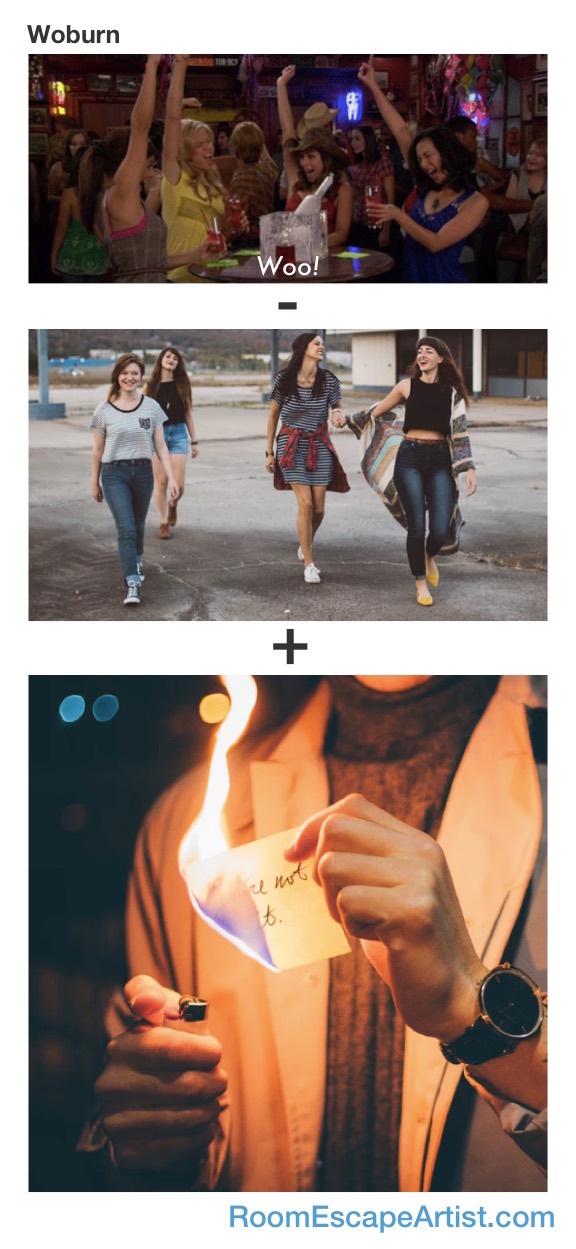 Woburn Rebus: Woo girls - girls + burn