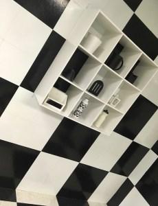 In-game: A black & white checker boarded room.