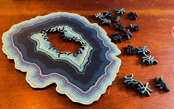 Geode puzzle mostly assembled.