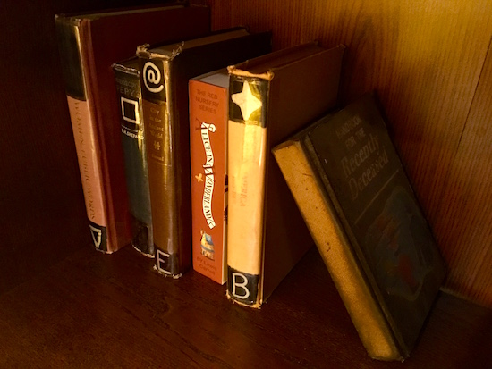 In-game: a small book case with symbols on the books.