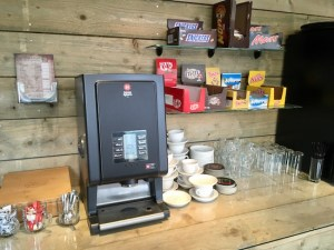 Escape Challenge's lobby's coffee maker and snacks.