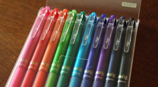 An assortment of 10 different color FriXion pens in the package.
