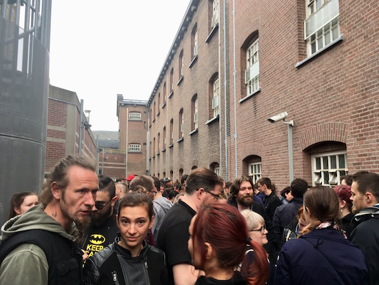The crowd of 180 players gathered outside of the Breda Prison Dome.
