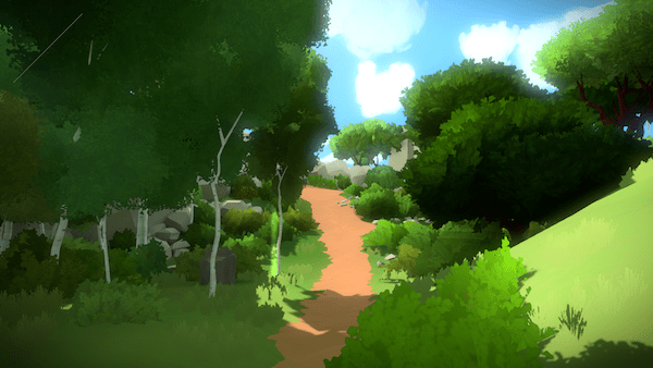 In-game: A lush forrest with a dirt path running through it.
