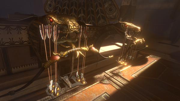 In-game: an ornate display of a bow and arrows.