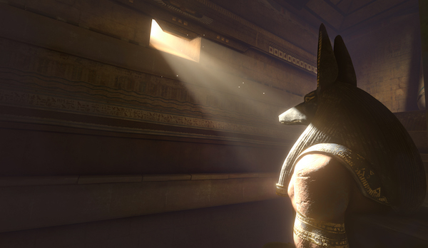 In-game: A ray of light shining on a large statue of Anubis.
