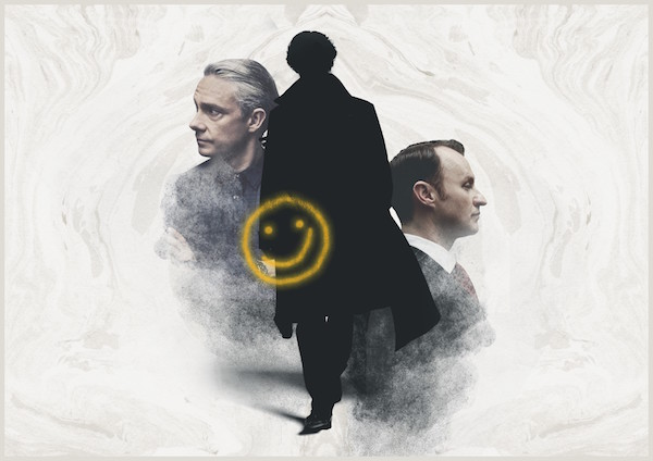 A silhouette of Sherlock Holmes flanked by profiles of John Watson & Mycroft Holmes. A yellow spray painted overlays the image.
