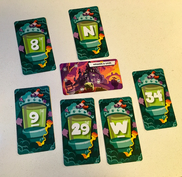 In-game: Noside Lair card surrounded by the 6 cards for items found around the lair.