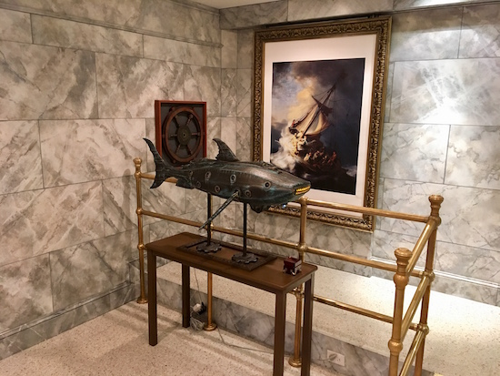In-game: a sculpture of the Nautilus in a marble walled museum.
