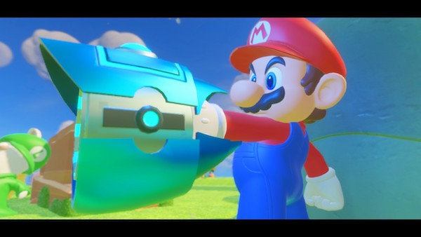 Mario defiantly points his new blaster in the enemy's direction.