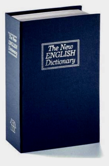 "A book titled, ""The New English Dictionary"" that is actually a combination locked safe."