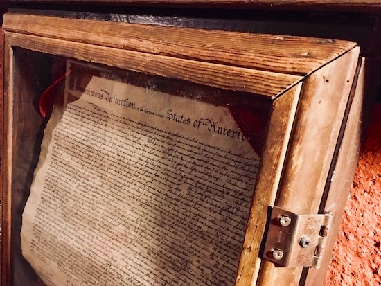 In-game: a locked box displaying the Declaration of Independence.