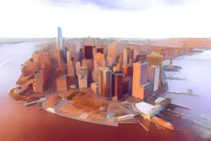 Stylized New York City skyline.