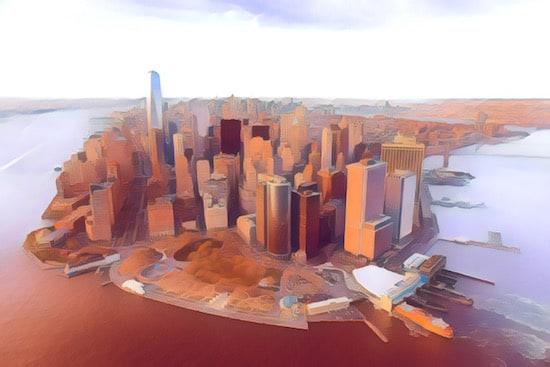 Stylized New York City skyline.