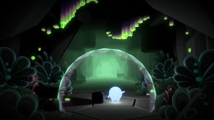 Glo and Bulder holding hands in a beautiful cave with glowing crystals, and luminescent plants.