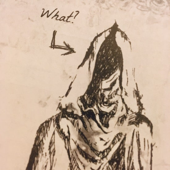 "In-game: Illustration of a hooded cultist saying, ""What?"""
