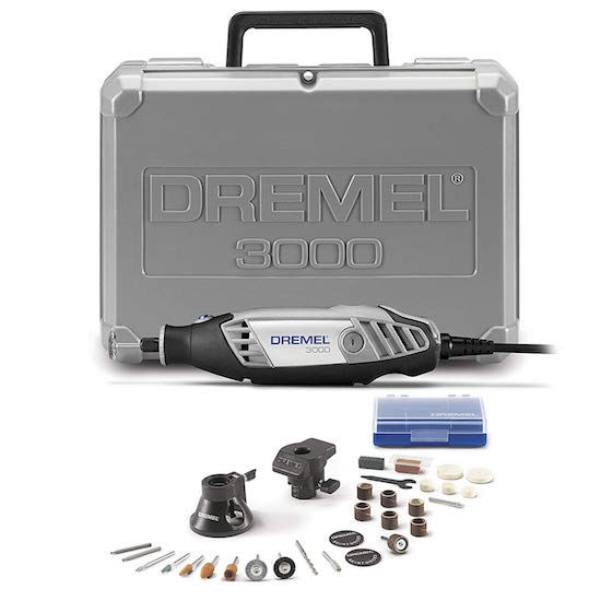 A dremel 3000, its box, and a few attachments.