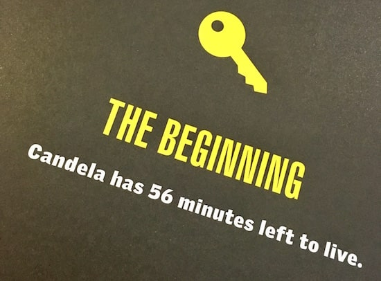 """In-book, page reads, """"The Beginning, Candela has 56 minutes left to live."""""""