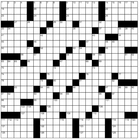 "The grid for the NY Times ""Escape Room"" crossword puzzle."