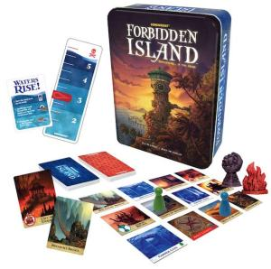 Forbidden Island's box with an assortment of cards, location tiles, and pieces.