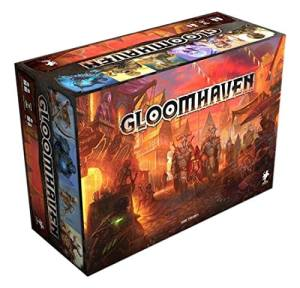 The D&D-esque box of Gloomhaven, depicting a scene with fantasy knights and rogues.