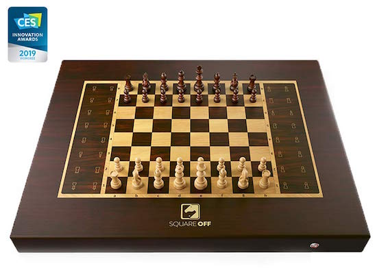 A beautiful wooden chess set with the 2019 CES Innovation Award badge.