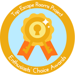 Top Escape Rooms Project: Enthusiast Choice Award 2018 logo. A gold ribbon made of keys.