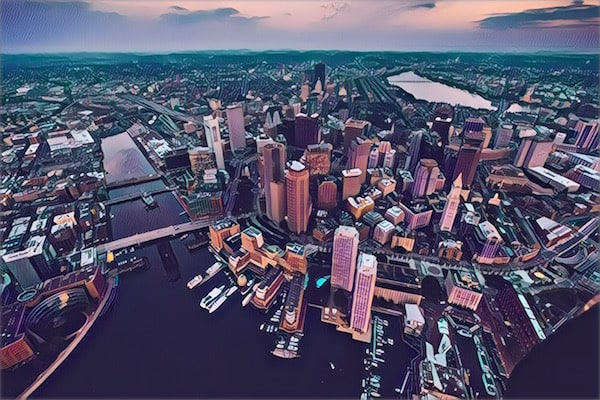 Stylized ariel photo of Boston.