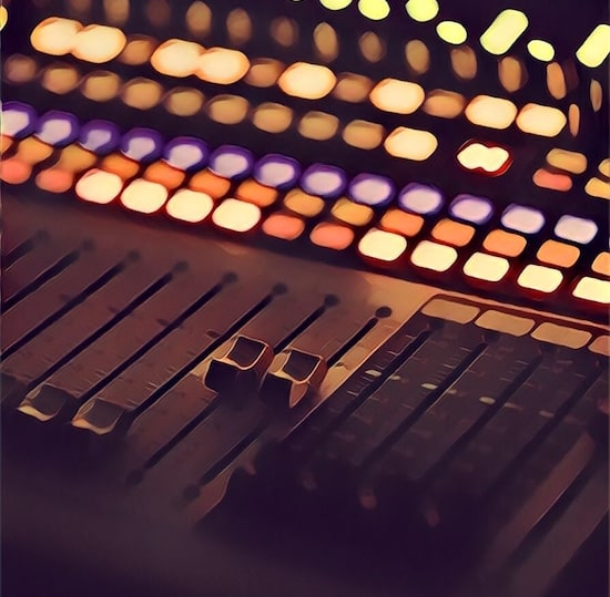 Stylized image of a mixing board.