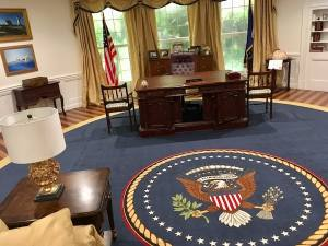 In-game: The President's desk, and the seal of the President at Seal of the President.