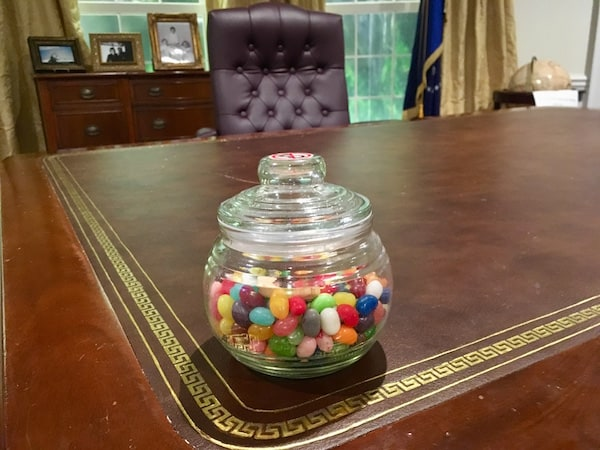 In-game: a jar of jelly beans on the President's desk.