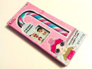 LOL Surprise Mystery Candy packaging depicting the candy cane and cute stickers.