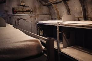 In-game: overhead shot of a the bunks in the submarine.