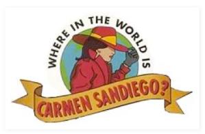The iconic and classic Carmen Sandiego logo.