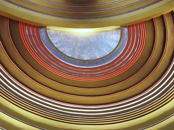 Elaborate art deco ceiling of the Cincinnati Museum Center.
