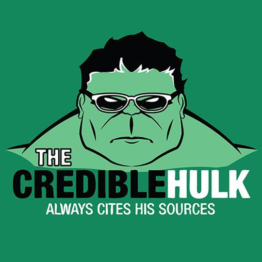 "Hulk with glasses meme reads, ""The Credible Hulk always cites his sources."""