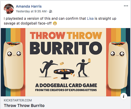 """Amanda Harris posting about Throw Throw Burrito reads, """"I playtested a version of this and can confirm that Lisa is straight up savage at dodgeball face-off."""""""