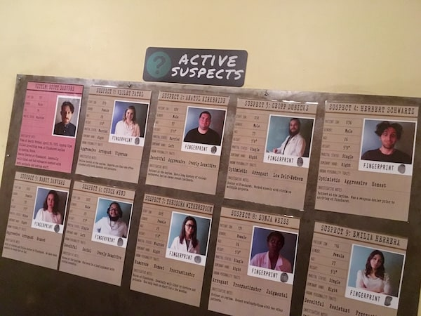 In-game: A wall with 10 profiles of active suspects.