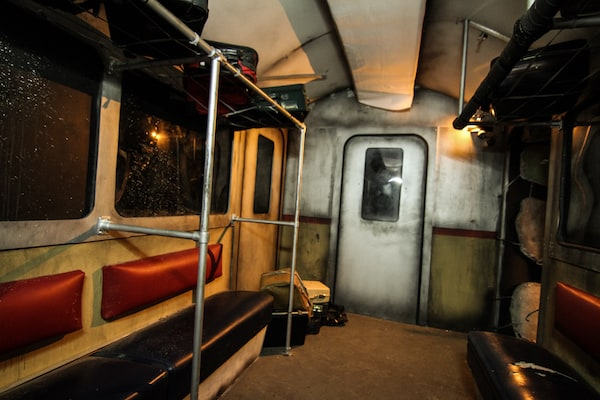 In-game: A weathered and damaged subway car.