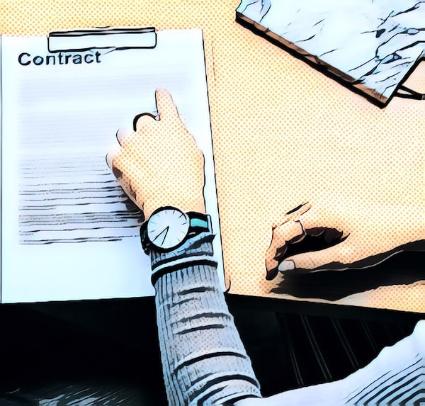 Stylized image of a person reviewing a contract.