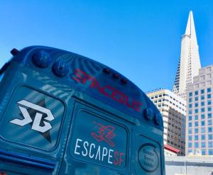 In-game: The Space Bus' exterior with the Transamerica Pyramid in the background.
