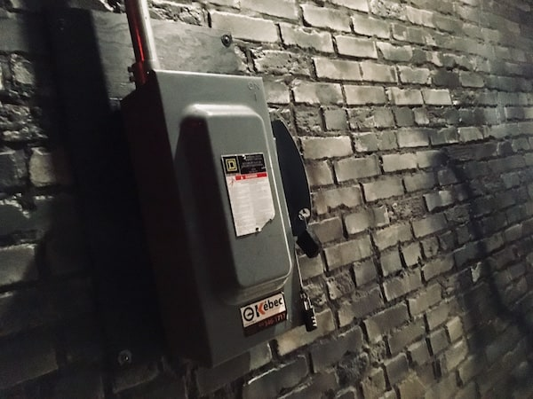 In-game: an electrical box in a back-alley.
