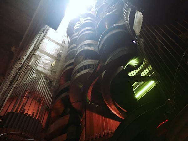 Two 10 story spiral slides.