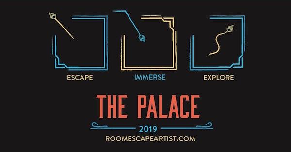 Escape Immerse Explore Palace logo, uses art deco design elements.