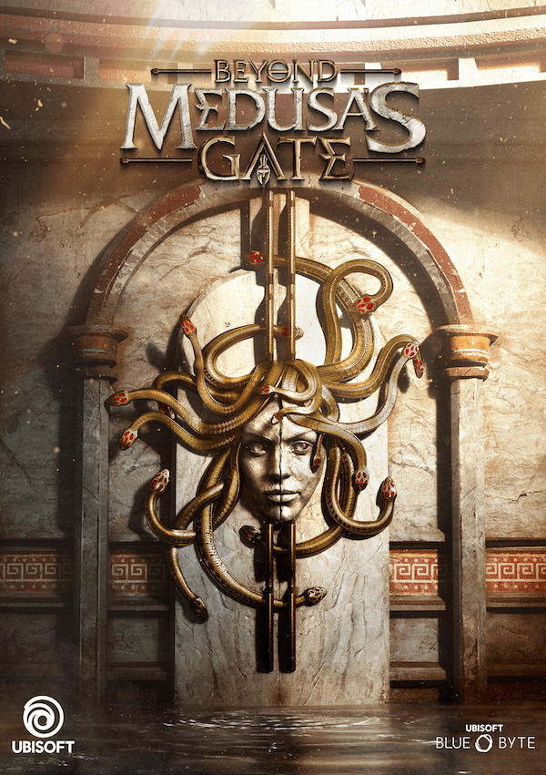 The Poster for Beyond Medusa's Gate featuring a stone door with a sculpture of Medusa.